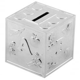Bambino Silver Plated ABC Cube Money Box