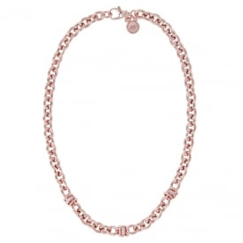 Bronzallure Rose Gold Plated CZ Rolo Washer Necklace WSBZ00520.R