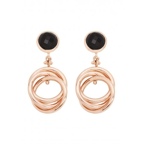 Bronzallure Rose Gold Plated Onyx Drop Earrings WSBZ00080.B