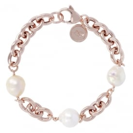 Bronzallure Rose Gold Plated Pearl Bracelet WSBM00019.MC