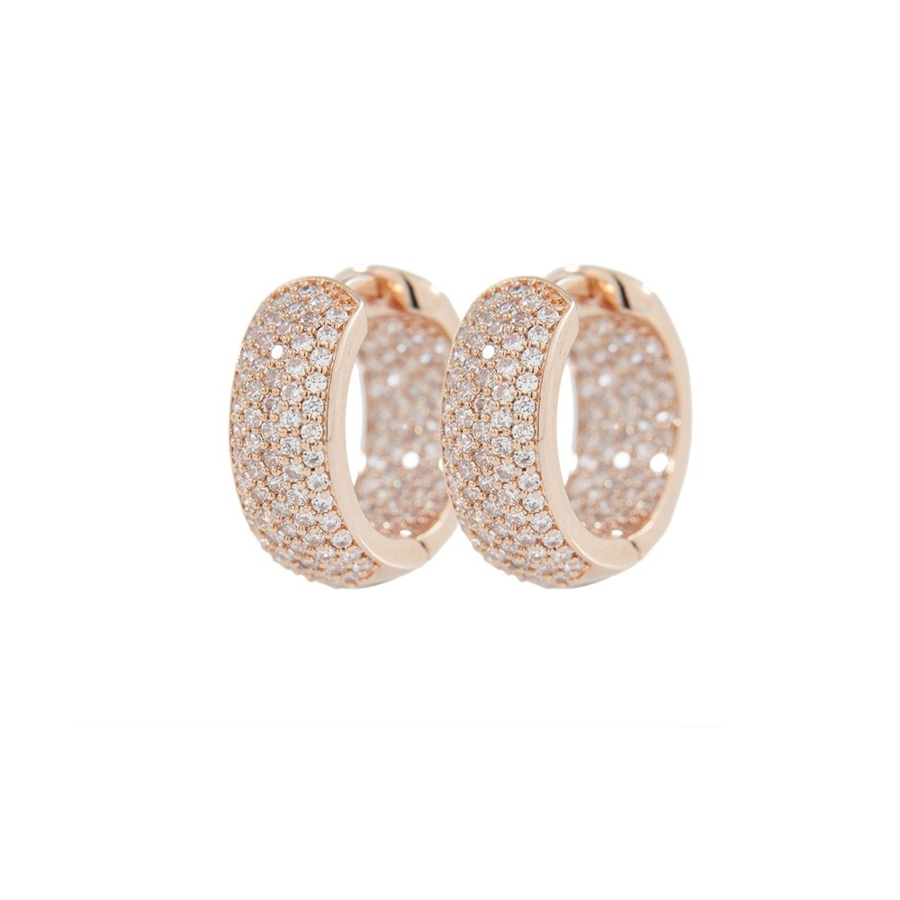 Bronzallure Rose Gold White Cz Pave Hoop Earrings Wsbz00413 W