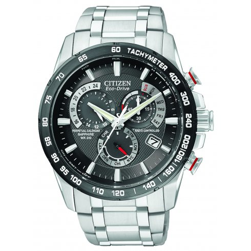Citizen Men's Chrono Perpetual A-T Alarm Chronograph Radio Controlled Eco-Drive Watch AT4008-51E