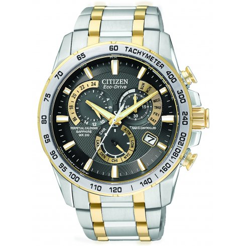 Citizen Men's Chrono Perpetual Alarm Chronograph Radio Controlled Eco-Drive Watch AT4004-52E