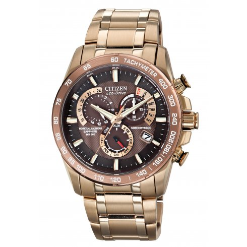 Citizen Men's Perpetual Chrono A.T Alarm Chronograph Eco-Drive Watch AT4106-52X