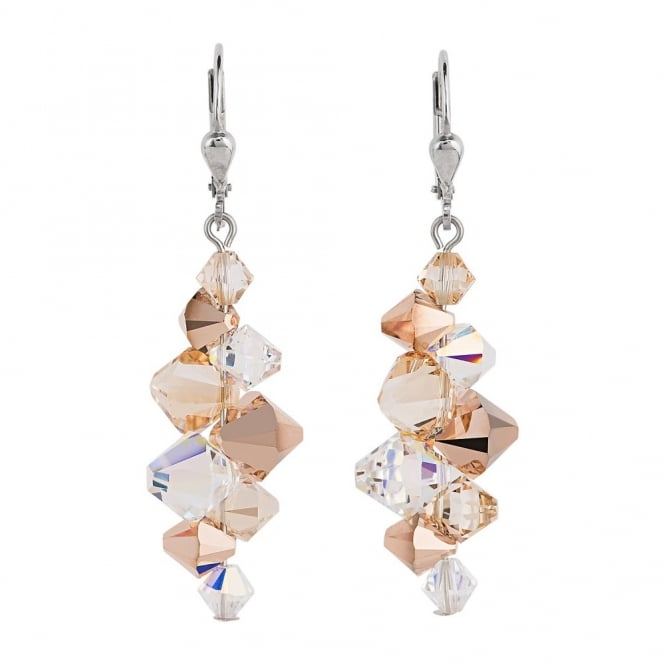 Coeur De Lion Geo Cube Rose Gold Earrings 4884/20-1620