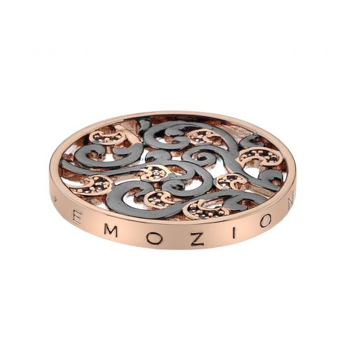 Emozioni Edera Oxidised Silver & Rose Gold Plated Coin 25mm EC376