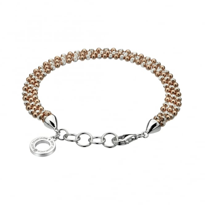 Emozioni Sterling Silver and Rose Gold Plate Bead Bracelet DL280