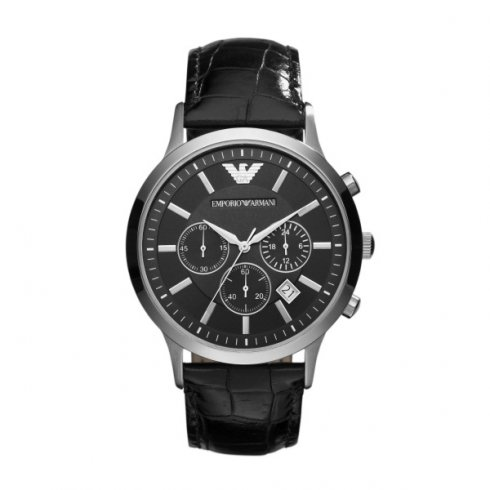Emporio Armani Men's Chronograph Leather Strap Watch AR2447