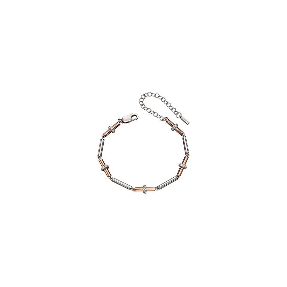 Fiorelli Silver Silver   Rose Gold Plated CZ Tubular Bracelet B5108C ... 36faa03ed3