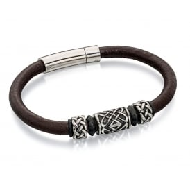 Fred Bennett Leather Celtic Bead Bracelet B4739