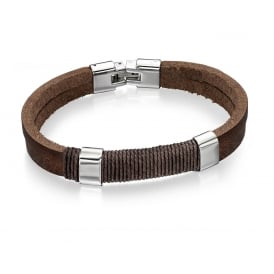 Fred Bennett Leather Wrapped Cord Bracelet B4558
