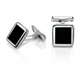 Fred Bennett Steel Black Enamel Cufflinks V467