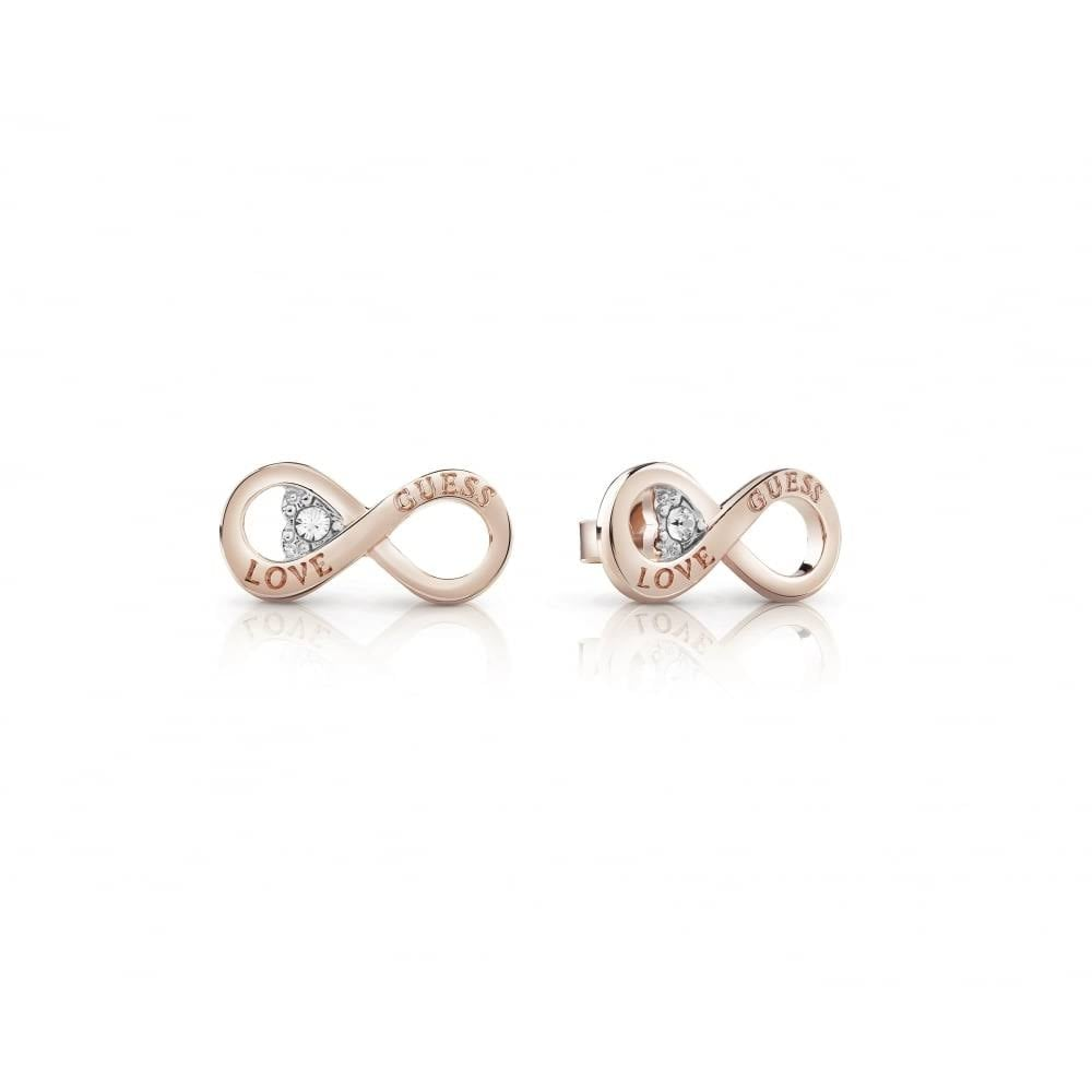 4bf494069 Guess Jewellery Rose Gold Plated Endless Love Infinity Heart Stud Earrings  UBE85011