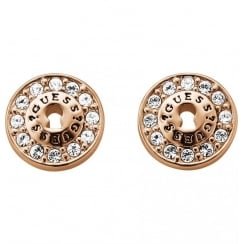 Guess Ladies' All Locked Up Rose Gold Tone Earrings - UBE71331