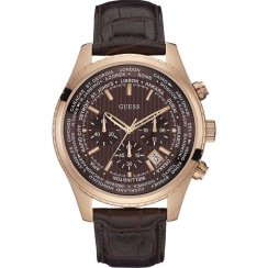 Guess Mens Pursuit Leather Strap Watch W0500G3