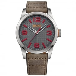 Hugo Boss Orange Men's Paris Distressed Brown Strap Watch 1513351