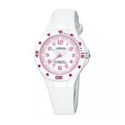 Lorus Kids White Strap Watch R2335DX9