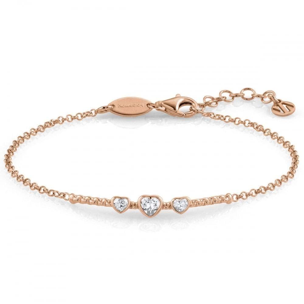 Nomination Bella Silver CZ Rose Gold Plated Heart Bracelet 142682 ... 09c96943d1