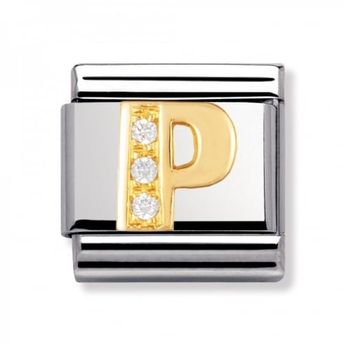 Nomination Classic 18ct Gold and CZ Letter P Charm 030301/16