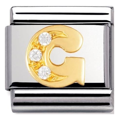 Nomination Classic 18ct Gold & CZ Letter G Charm 030301/07