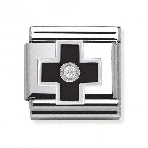 Nomination Classic CZ Silver and Black Cross Charm 330305/03