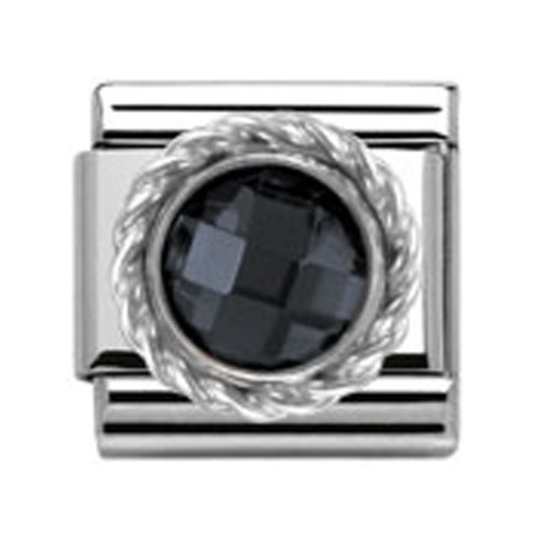 Nomination Classic CZ Silver Faceted Black Charm 330601/011