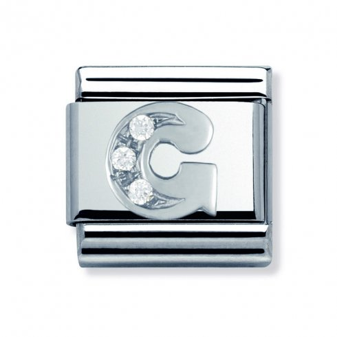 Nomination Classic CZ Silver Letter G Charm 330301/07