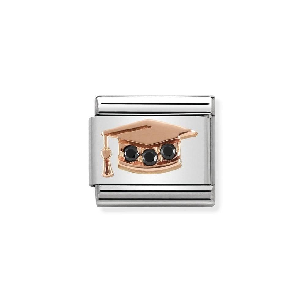 809431d18251d Classic Rose Gold & Black CZ Graduation Hat Charm 430305/11