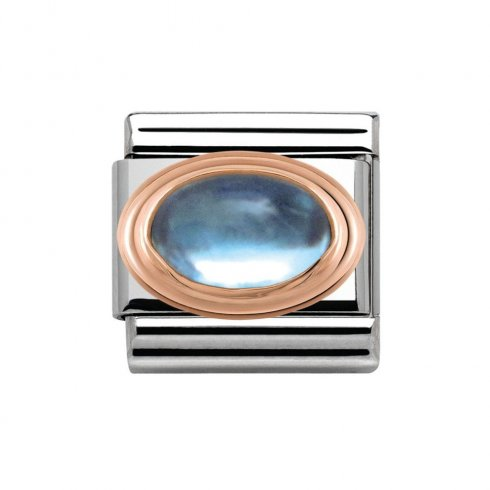 Nomination Classic Rose Gold Blue Topaz Charm 430502/13