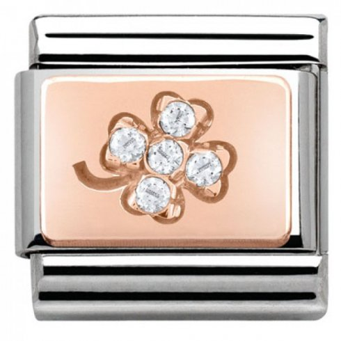 Nomination Classic Rose Gold CZ Clover Charm 430302/02