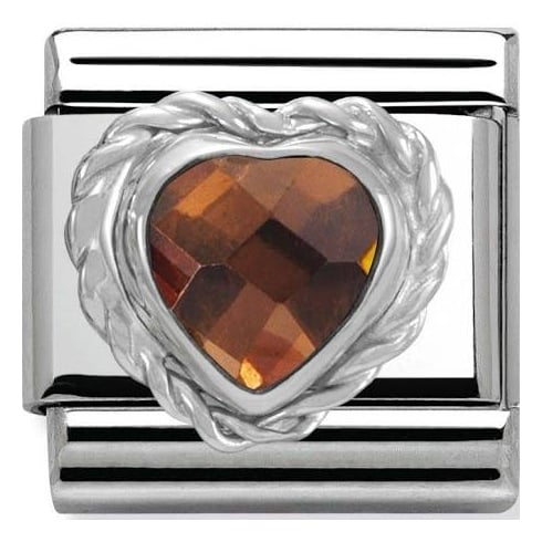 Nomination Classic Smokey Heart Shaped CZ Charm 330603/012