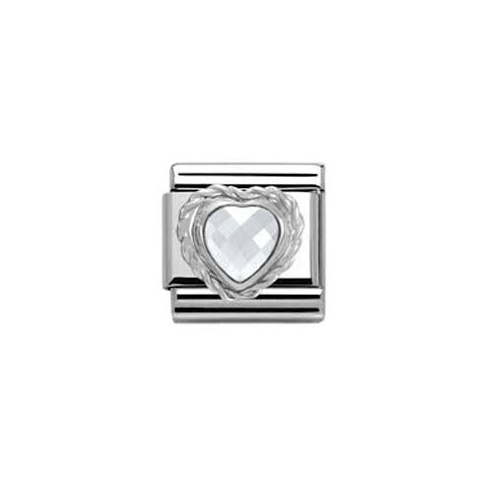 Nomination Classic White Heart Shaped CZ Charm 330603/010