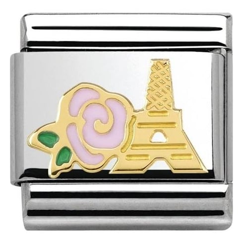 Nomination Pink Rose & Eiffel Tower Charm 030285/39