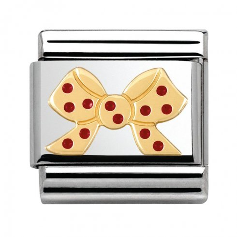 Nomination Pois Red Polka Dot Bow Charm 030285/28