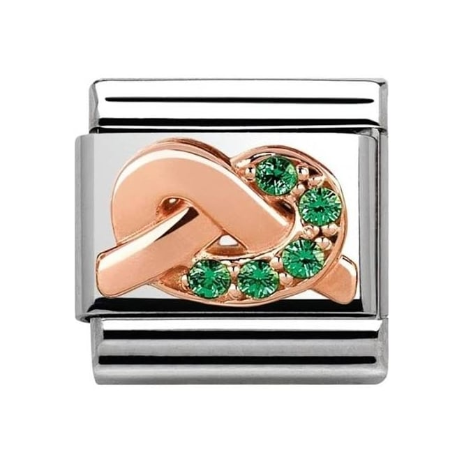 Nomination Promises Steel & 9ct Rose Gold Green Knot Charm 430302/08