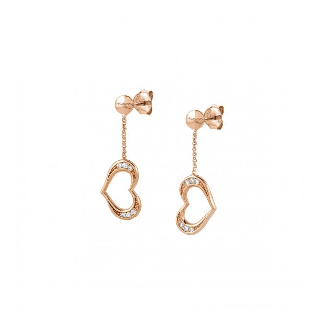 Nomination Silver CZ Rose Gold Plated Heart Earrings 146409/02