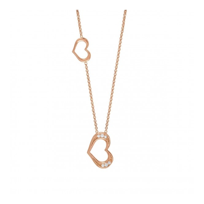 Nomination Silver CZ Rose Gold Plated Heart Necklace 146404/002