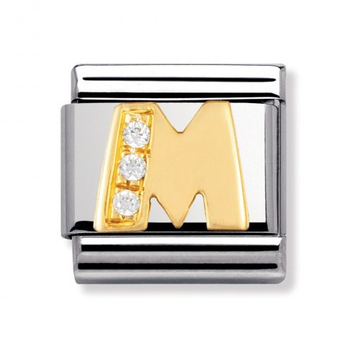 Nomination Steel, 18ct Gold and CZ Letter M Charm 030301/13
