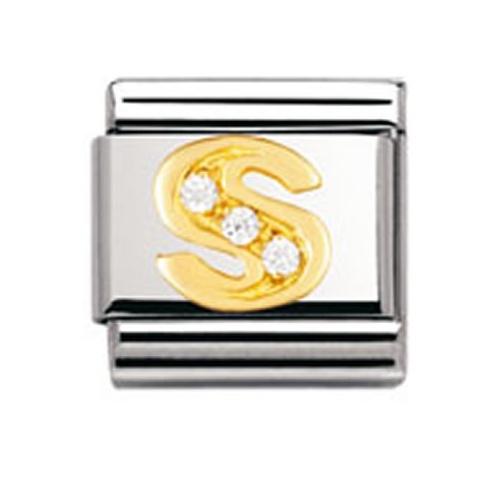 Nomination Steel, 18ct Gold and CZ Letter S Charm 030301/19