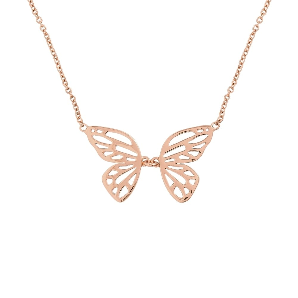 55484f8789a5 Olivia Burton Jewellery Rose Gold Butterfly Wing Necklace OBJ16EBN05 ...
