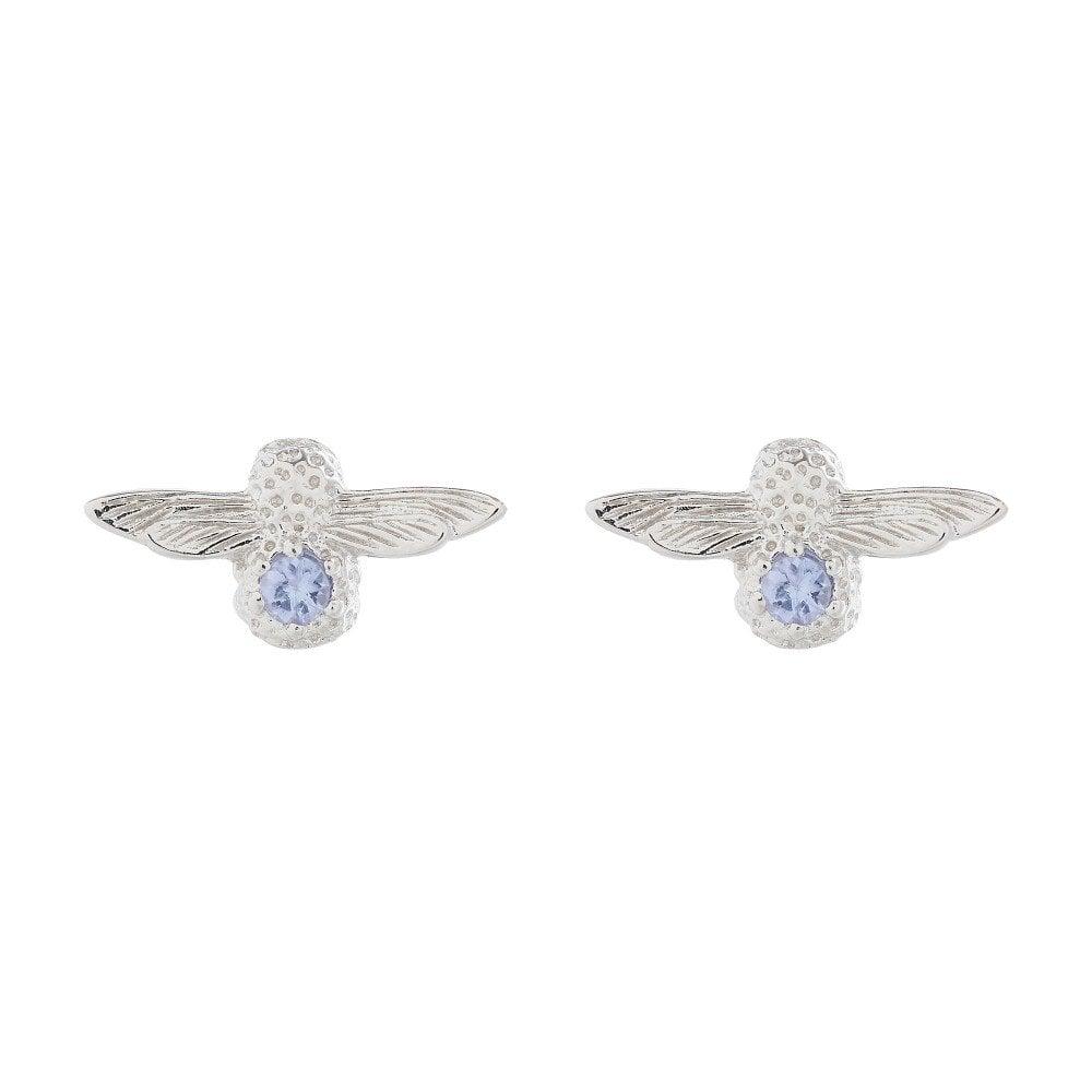 Olivia Burton Jewellery Sterling Silver Tanzanite Bejewelled Bee Stud Earrings Obj16ame28