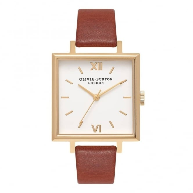 Olivia Burton Ladies' Big Square Dial Tan & Gold Watch OB16SS20
