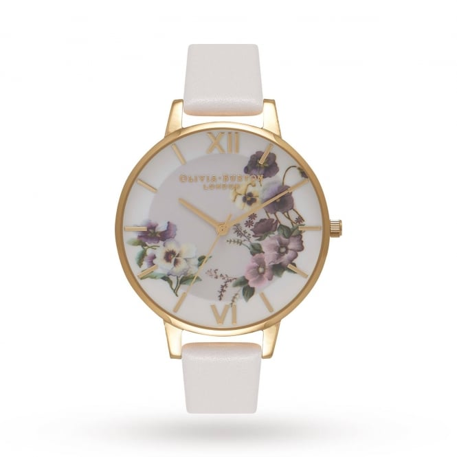 Olivia Burton Ladies' Embroidery Pansy Blush & Gold Watch OB16FS86