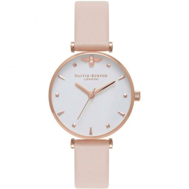 Olivia Burton Ladies' Queen Bee Nude Peach & Rose T-Bar Watch OB16AM95