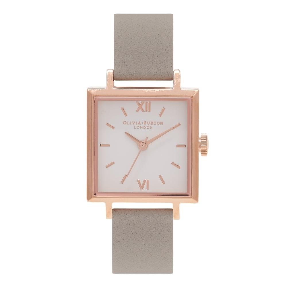 Olivia Burton Ladies  039  Square Dial Grey  amp  Rose Gold Watch OB16SS03 f48945c419