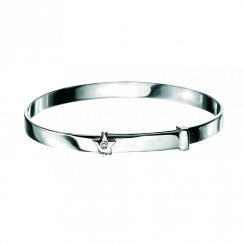 Silver D for Diamond Star Baby Bangle - B772