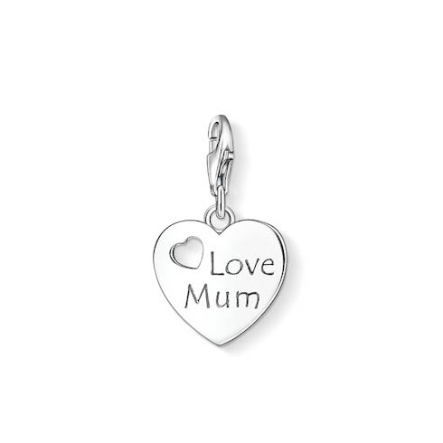 Thomas Sabo Charms Thomas Sabo Silver Heart Love Mum Charm 1055-001-12